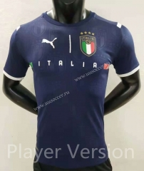 Player version 2021-2022 Italy Goalkeeper Royal Blue Thailand Soccer Jersey AAA