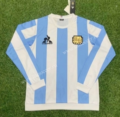 1986 Retro Version Argentina Home Blue & White LS Thailand Soccer Jersey AAA-417