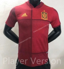 Player version 2021-2022 Spain Home Red Thailand Soccer Jersey AAA