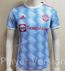 Player version 2021-2022 Manchester United 2rd Away Blue&White  Thailand Soccer jersey AAA-807