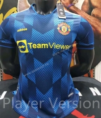 Player Version 2021-2022  Manchester United Blue  Thailand Soccer Jersey AAA