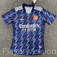 Player version 2021-2022 Arsenal Blue Thailand Soccer Training Jersey-407
