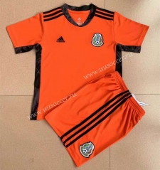 2021-22 Mexico Goalkeeper Orange Training Youth/Kids  Soccer Uniform-AY