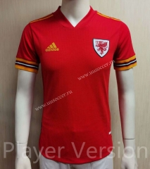 Player Version 2021-20221 Wales Home Red Thailand Soccer Jersey AAA