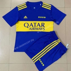 2021-2022 BOCA Juniors Home Blue Kids/Youth Soccer Uniform-AY