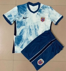 2021-22 Norway Away Light Blue Training Soccer Uniform-AY