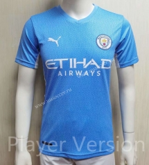 Player version 2021-2022  Manchester City Blue Thailand Soccer Jersey AAA