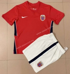 2021-22 Norway Home Red Training  Youth/Kids  Soccer Uniform-AY