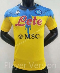 Player version 2021-2022 Napoli Yellow Thailand Soccer Jersey AAA