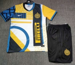 2021-22 Inter Milan 3rd Away Yellow & White & Blue Soccer Uniform-718