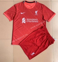 2021-22 Liverpool Home Red Thailand Youth/Kids Soccer Uniform-AY