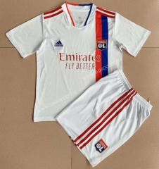 2021-2022 Olympique Lyonnais Home White Soccer Uniform-AY