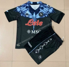 Signed jointly2021-2022 Napoli Black Youth/Kids Soccer Uniform-AY