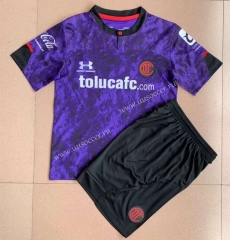2021-2022 Deportivo Toluca FC 2nd Away Purple Soccer Uniform-AY