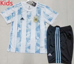 2021-2022  Argentina Home Blue and White Kids/Youth Soccer Uniform