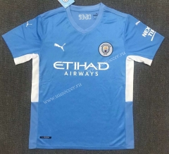 2021-2022  Manchester City Home Blue Thailand Soccer Jersey AAA-803