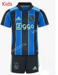 2021-22 Ajax Away Blue&Black Youth/Kids Soccer Uniform-AY