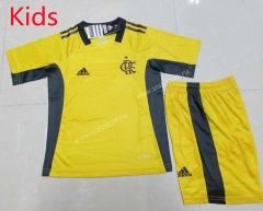 2021-2022 CR Flamengo Goalkeeper Yellow Kid/Youth Soccer Uniform-AY