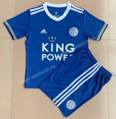 2021-2022 Leicester City Home Blue  Youth/Kids Soccer Uniform-AY