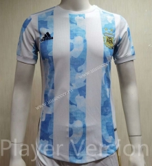 Player Version 2021-2022 Argentina Home White & Blue Thailand Soccer Jersey AAA-807
