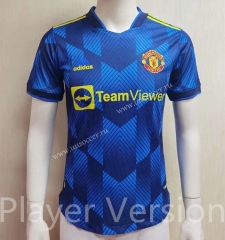 Player version 2021-2022 Manchester United 2nd Away Blue Thailand Soccer jersey AAA-2047